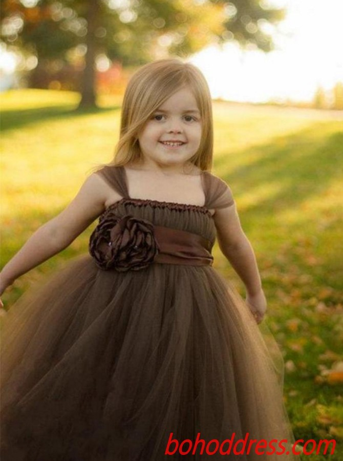 Popular Chocolate Square Neckline Ball Gown Flower Girl Dress with Belt