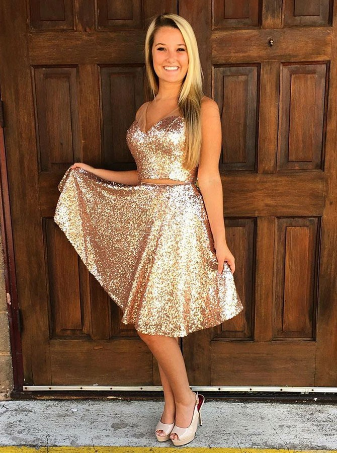 Two Piece V-Neck Knee-Length Gold Sequined Homecoming Dress