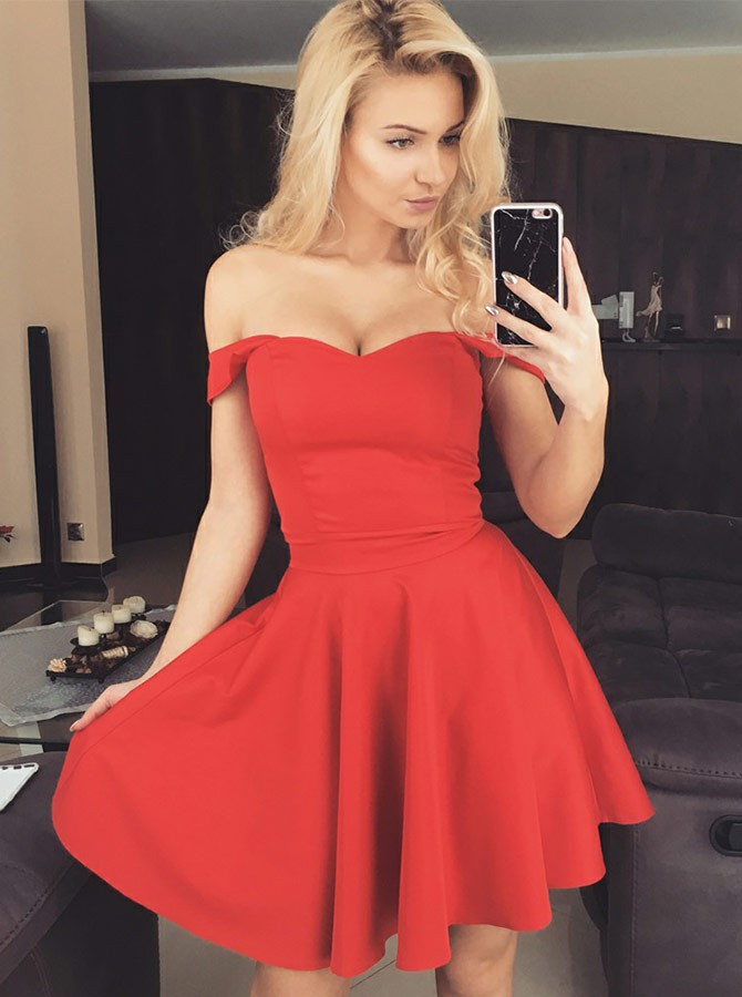A-Line Off-the-Shoulder Straps Above-Knee Red Homecoming Dress