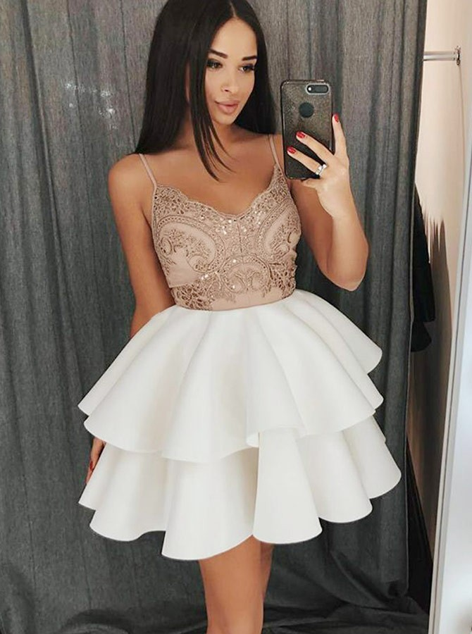 A-Line Spaghetti Straps Short White Tiered Homecoming Dress with Appliques