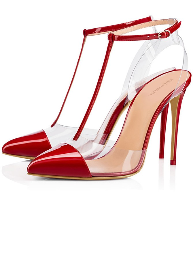 Red T-Straps Ankle Straps Stiletto Heels