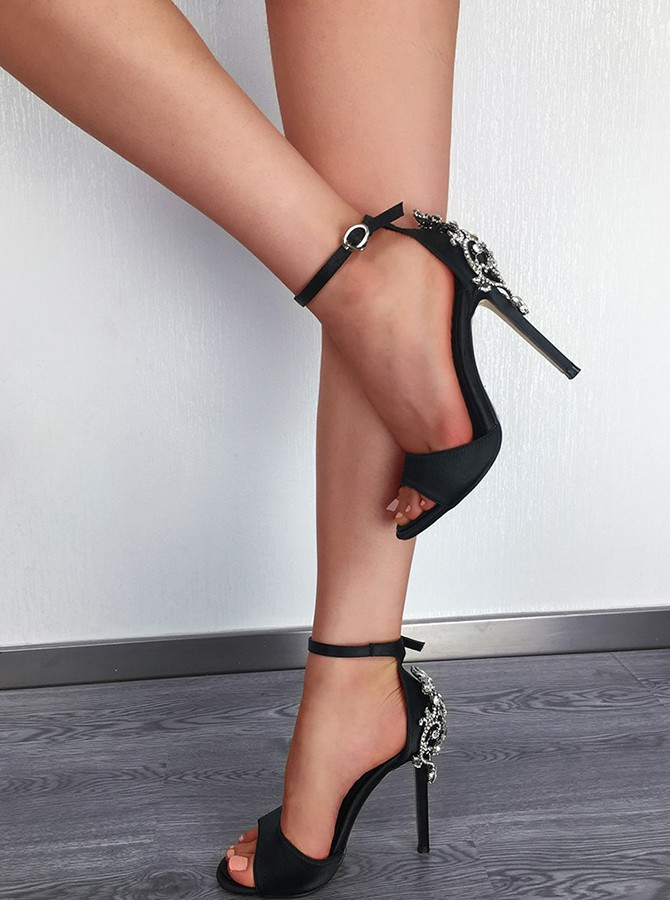 Black Ankle Straps Beading Stiletto Heels