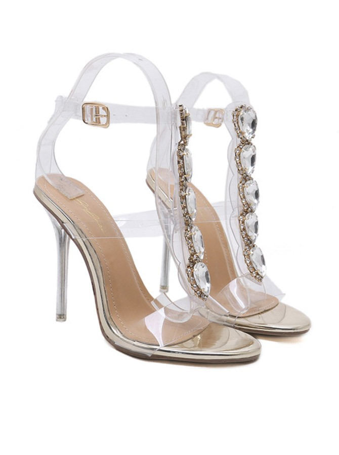 Stiletto Heel Sandals with Rhinestone