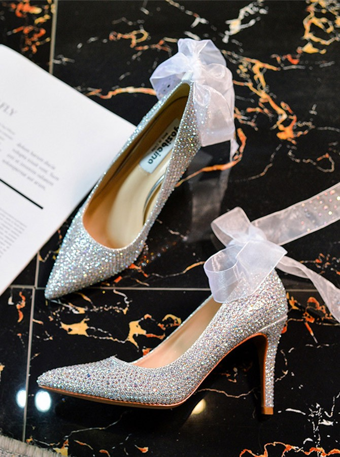Silver Stiletto Heel Closed Toe Party Shoes with Rhinestones