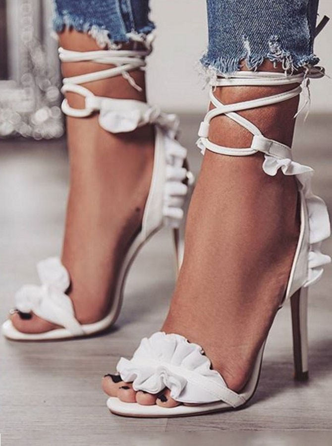 High Stiletto Open Toe Ruffle Ankle Strap Lace Up Sandals