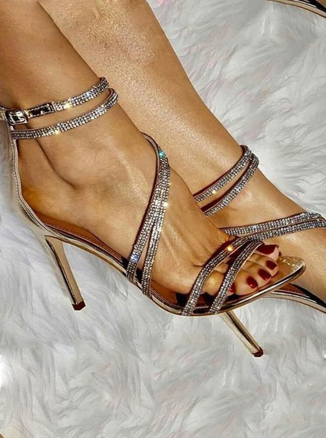 Stiletto Heel Ankle Strap Sandals with Rhinestones