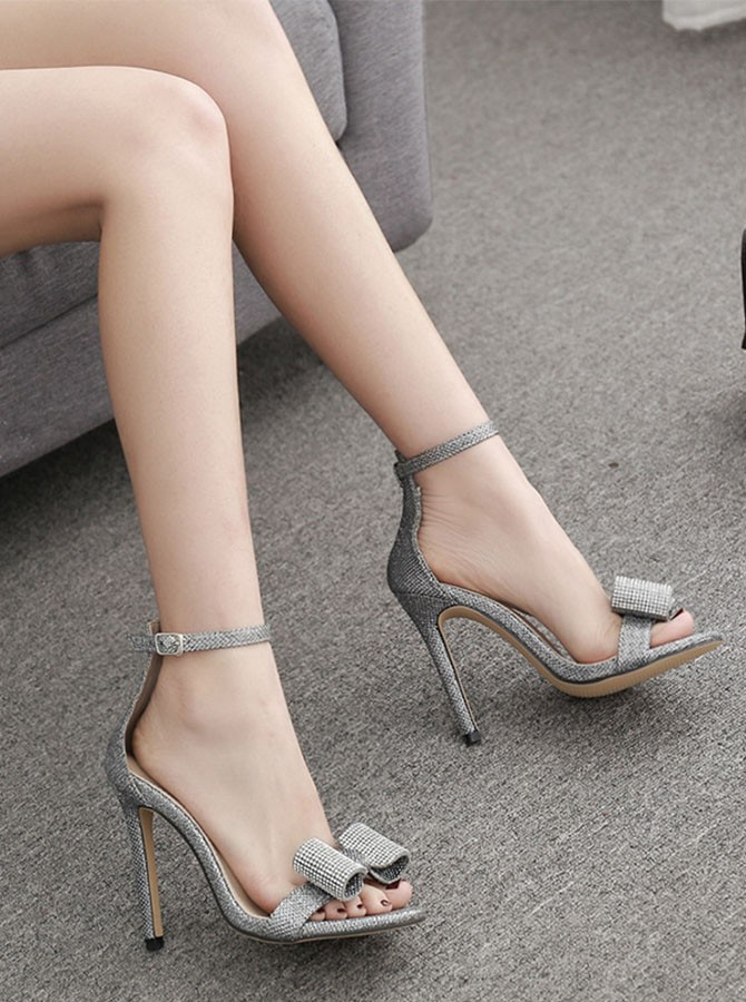 Women's Stiletto Ankle-Strap Heels with Bowknot