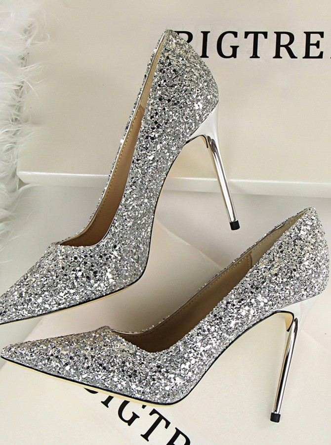 Sparkling Sequins Sexy High Heels Shallow Mouth Pointy Toe