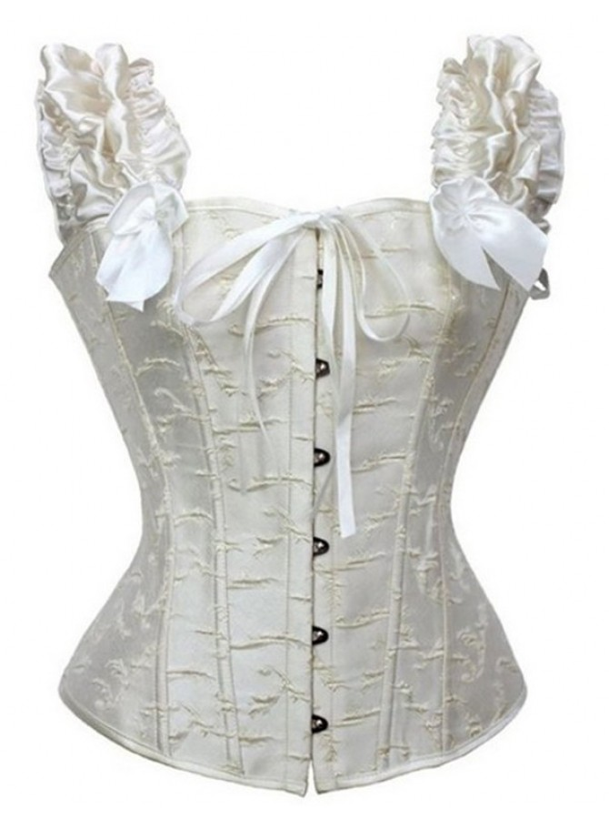 Ivory Satin Lace-Up Shapewear Corset with Sleeves