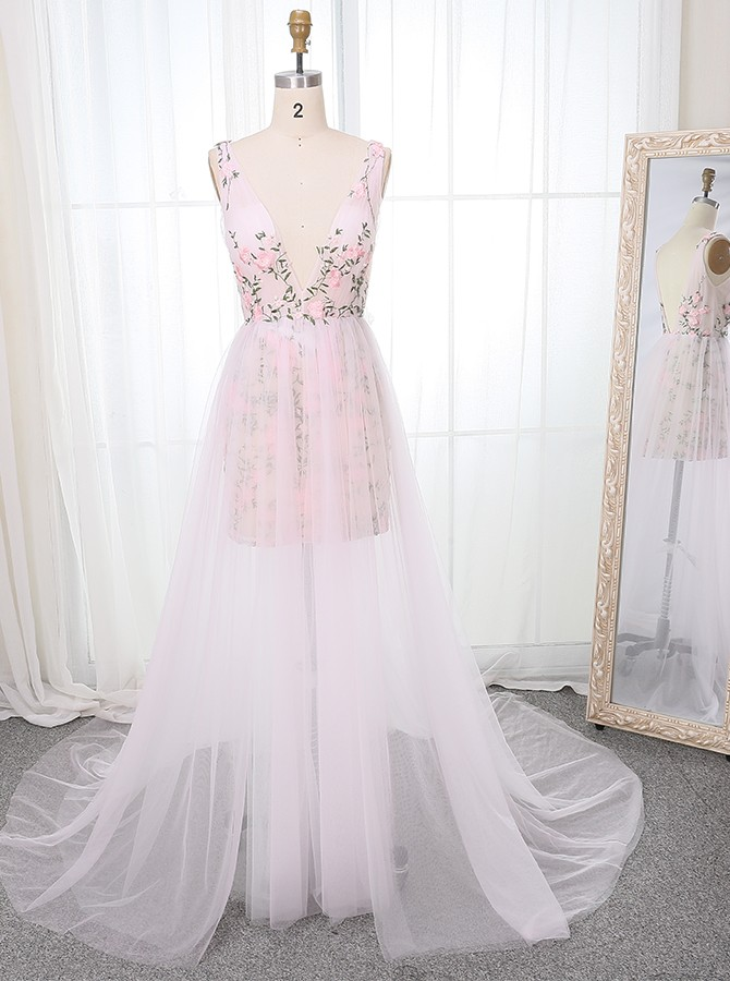 Hot Deep V-Neck Long Pink Prom Dress with Appliques Backless