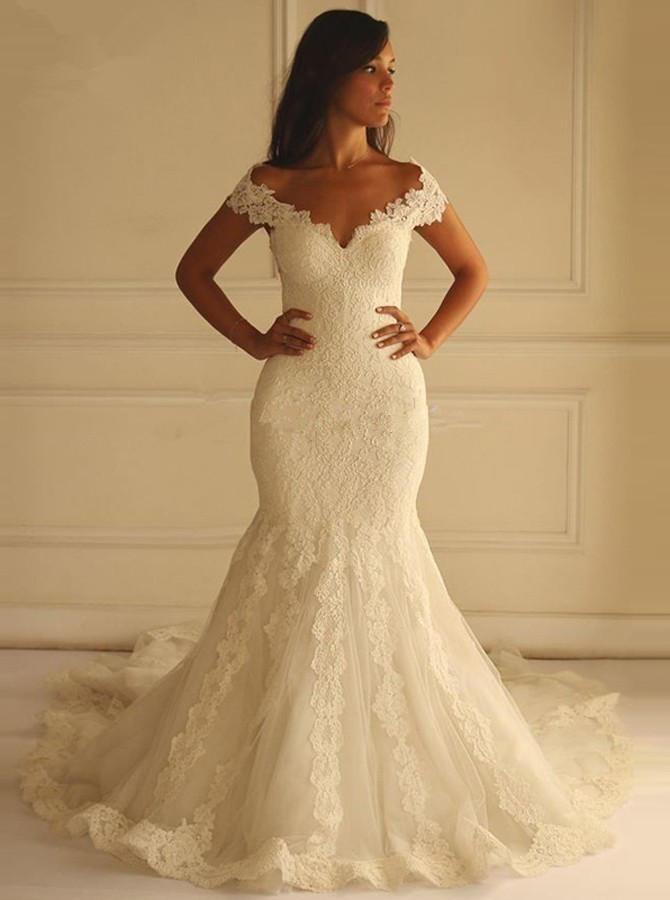 Special Off-the-Shoulder Court Train Sleeveless Mermaid Lace Wedding Dress with Appliques