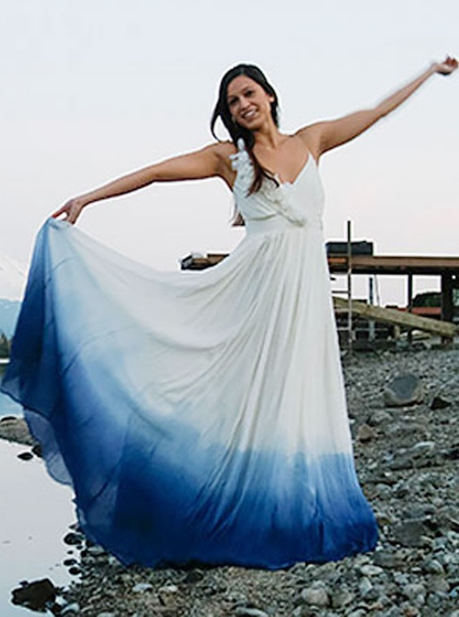 Boho V-Neck Sleeveless Floor-Length Ombre Chiffon Ruched Wedding Dress