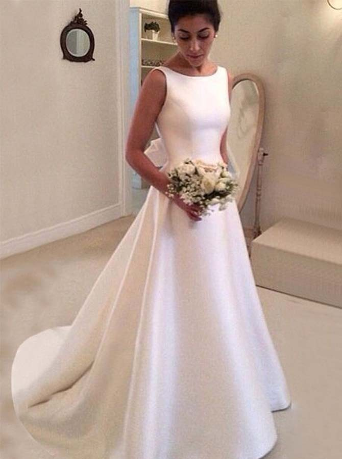 A-Line Bateau Backless Court Train Wedding Dress with Bowknot