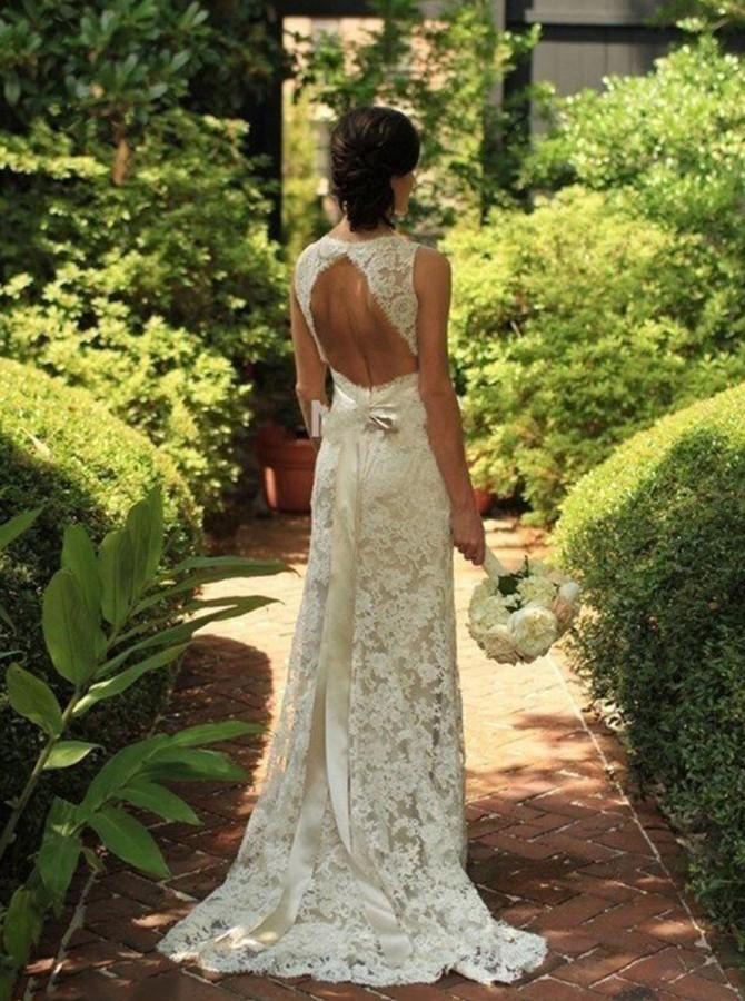 Sheath V-neck Sweep Train Open Back Lace Beach Wedding Dress