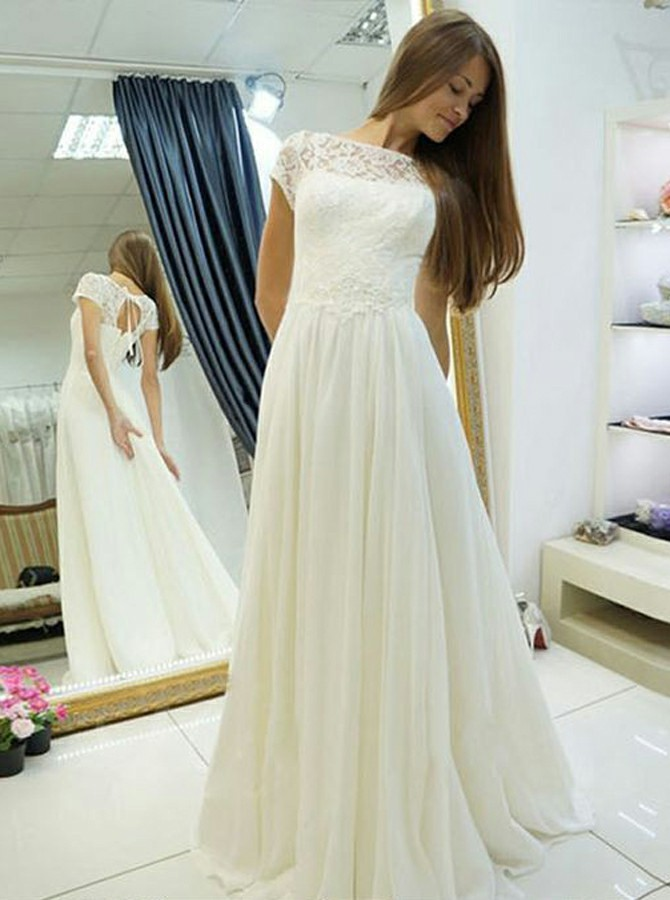 A-Line Bateau Cap Sleeves Open Back White Chiffon Wedding Dress with Lace