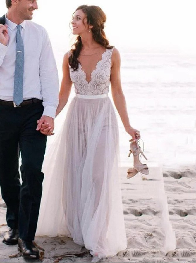 A-Line Round Neck Sweep Train Lilac Tulle Beach Wedding Dress