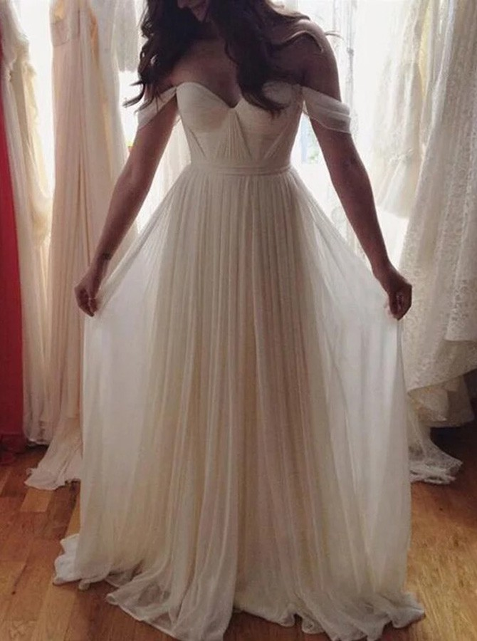 Beach A-Line Off-the-Shoulder Floor-Length Chiffon Wedding Dress with Pleates