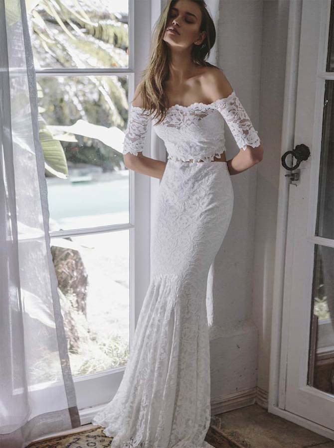 Two Piece Off-the-Shoulder Half Sleeves White Wedding Dress With Lace