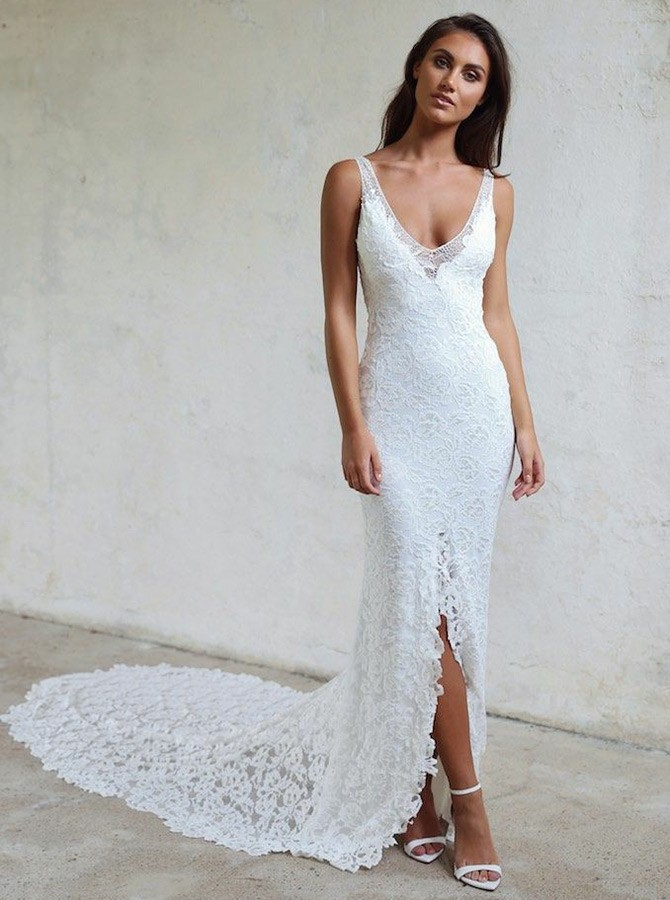 Sheath V-Neck Court Train Backless Lace Wedding Dress with Split