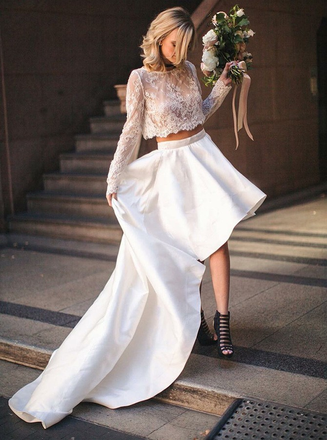 Two Piece Bateau High Low Satin Long Sleeves Wedding Dress With Lace