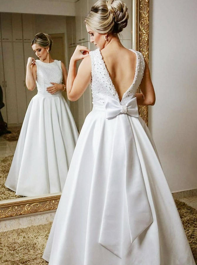 A-Line Round Neck Floor-Length Open Back Wedding Dress with Bowkont Beading