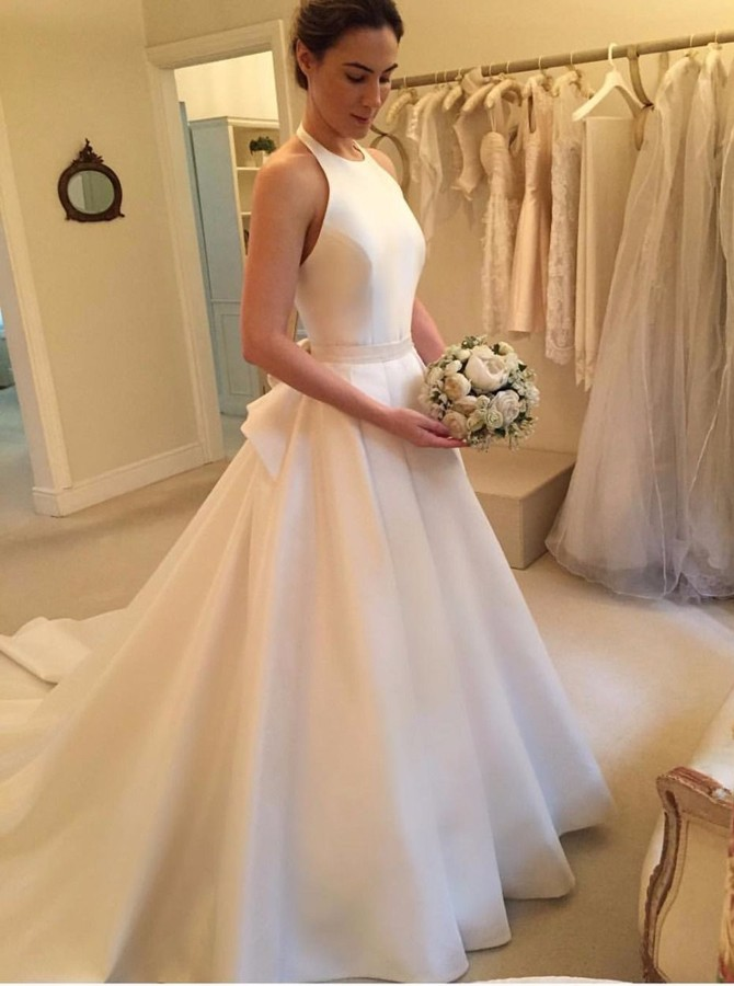 A Line Halter Backless Court Train White Satin Wedding Dress With Bowknot