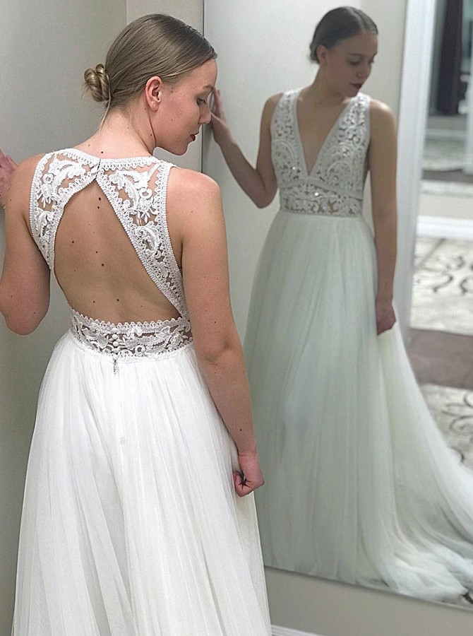 A-Line Deep V-Neck Open Back Sweep Train White Wedding Dress with Lace Bodice