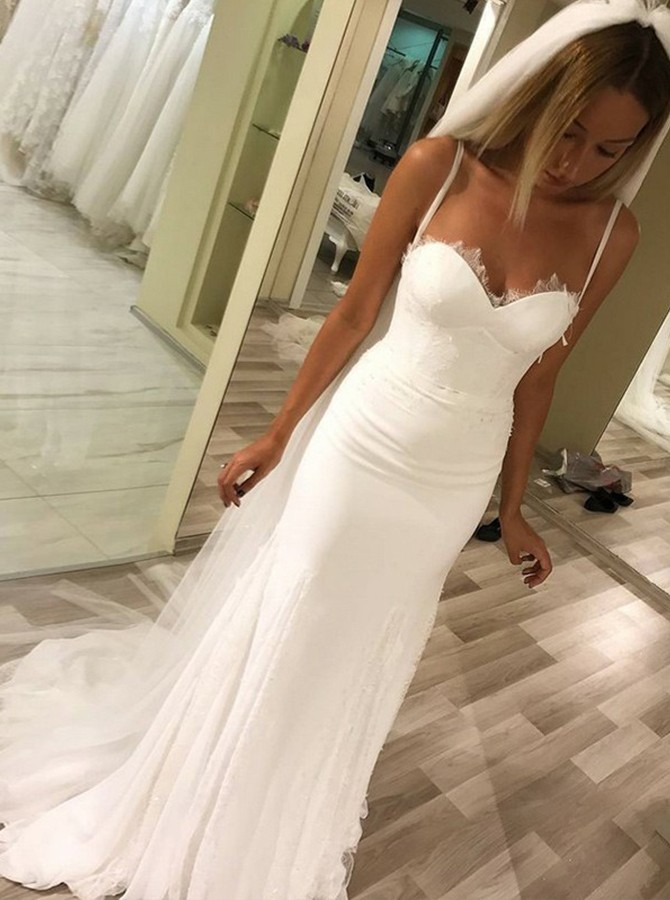 Mermaid Spaghetti Straps Chiffon Beach Wedding Dress with Lace