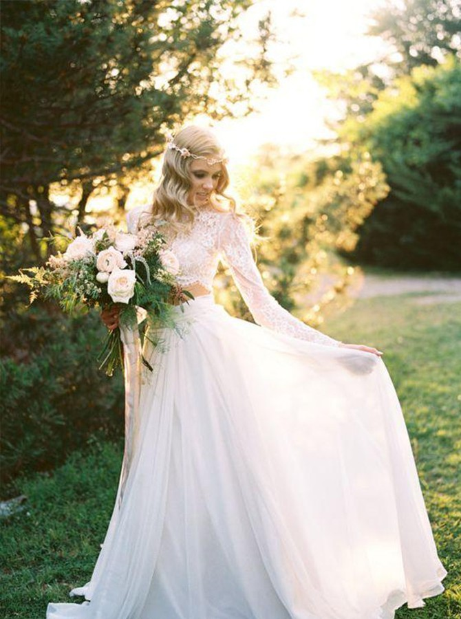 Two Piece Round Neck Long Sleeves Beach Wedding Dress With Lace