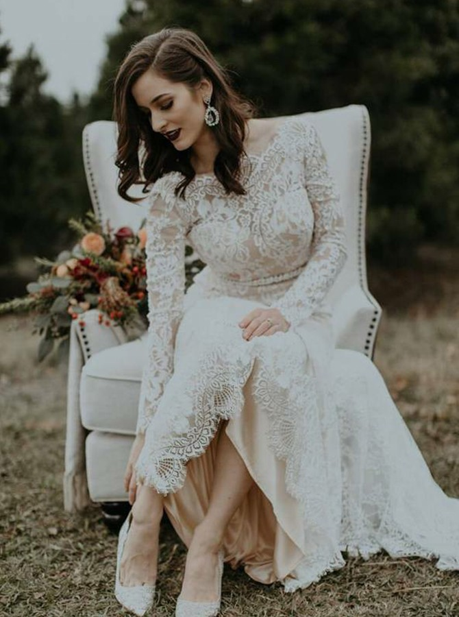 Beach Mermaid Round Neck Long Sleeves Lace Backless Wedding Dress