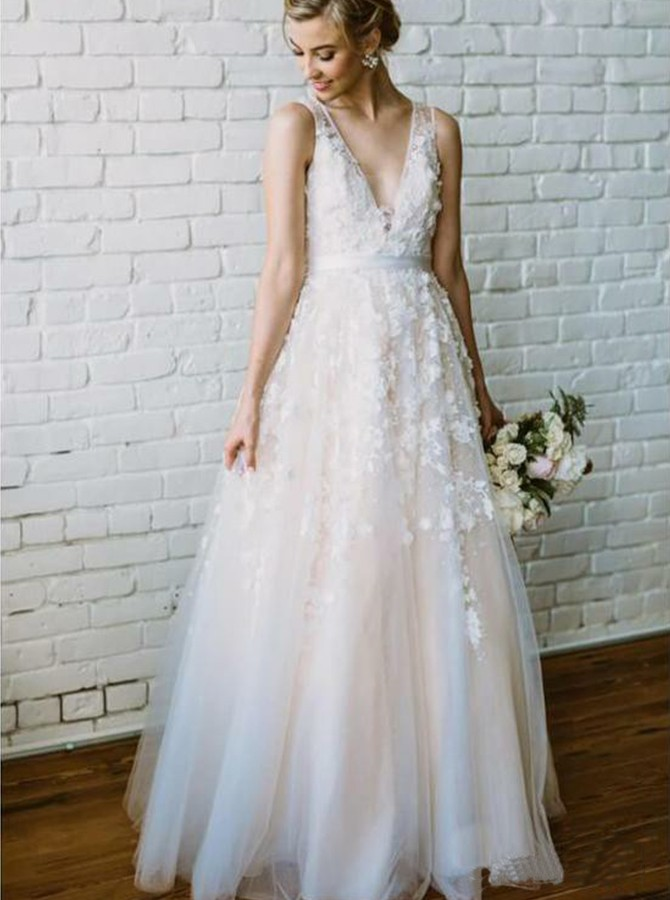 A-Line V-Neck Floor-Length Wedding Dress with Appliques