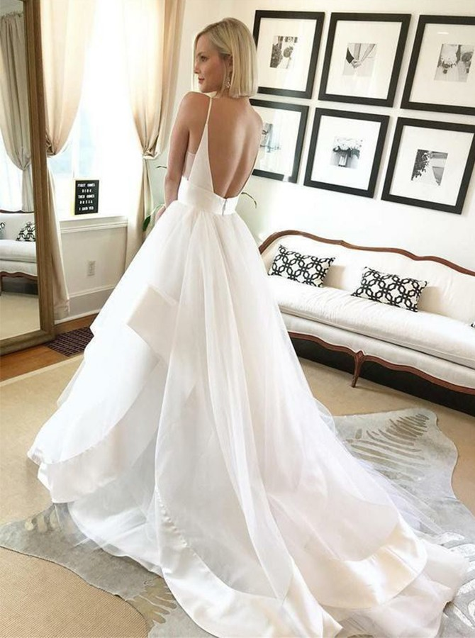 A-Line V-Neck Spaghetti Straps Court Train Backless Wedding Dress
