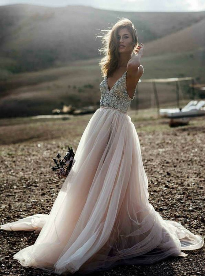 A-Line V-Neck Backless Champagne Wedding Dress with Beading
