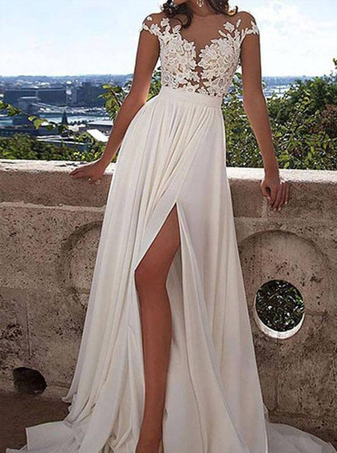 A-line Illusion Sweep Train Chiffon Wedding Dress with Appliques Split