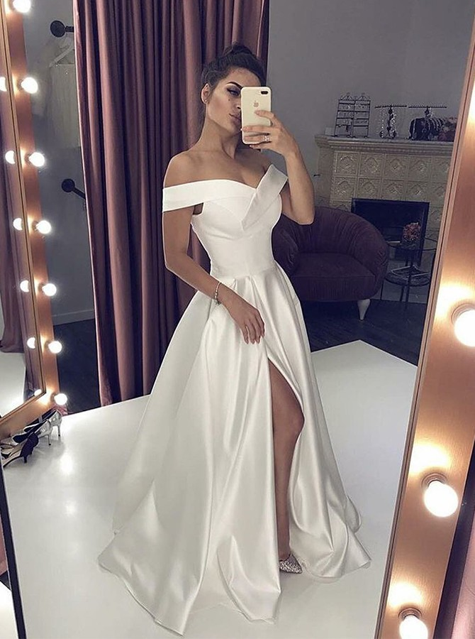 A-Line Off-the-Shoulder Floor-Length Wedding Dress with Split