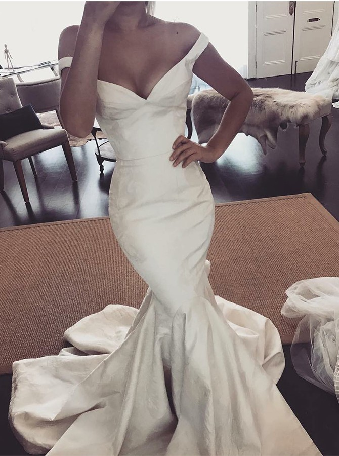 Mermaid Off-the-Shoulder Sweep Train White Satin Wedding Dress
