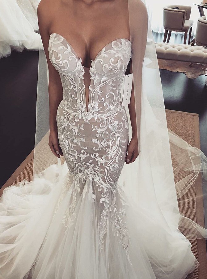 Mermaid Sweetheart Sweep Train White Wedding Dress with Appliques