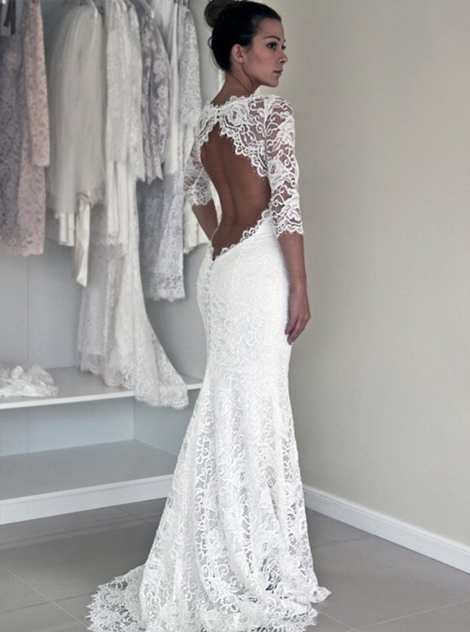 Mermaid Round Neck Sweep Train Open Back Half Sleeves Lace Wedding Dress