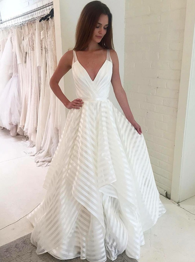 A-Line V-Neck Sweep Train White Wedding Dress with Tiered