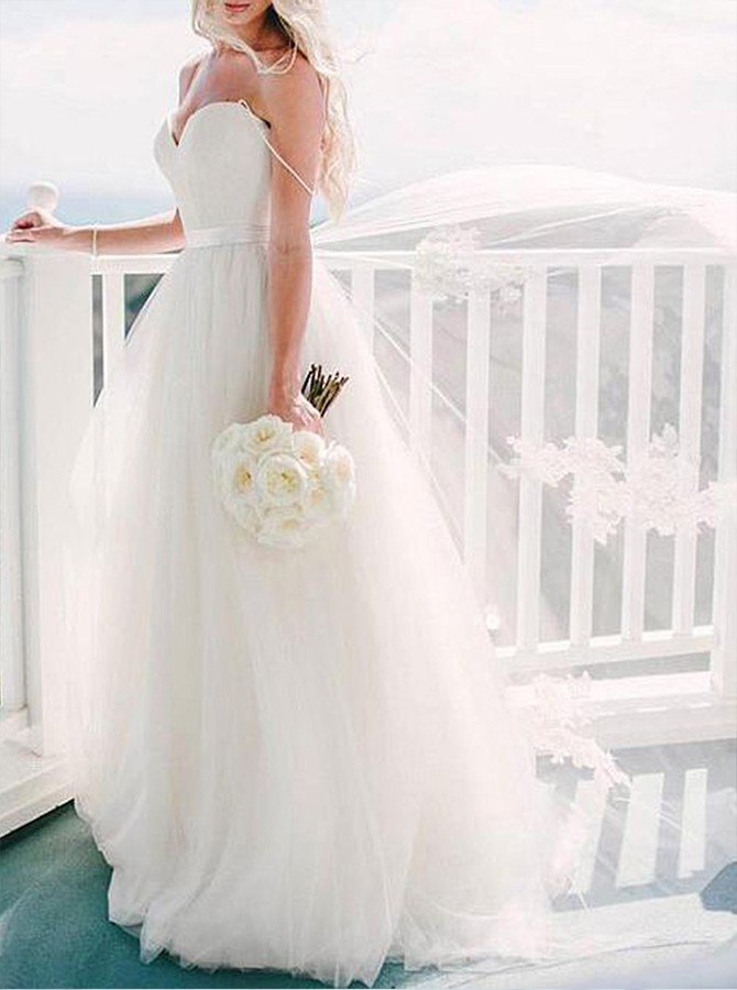 A-Line Spaghetti Straps Sweep Train White Tulle Wedding Dress with Appliques