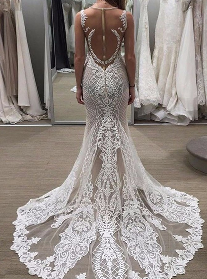 Beach Mermaid Round Neck Sweep Train White Lace Wedding Dress