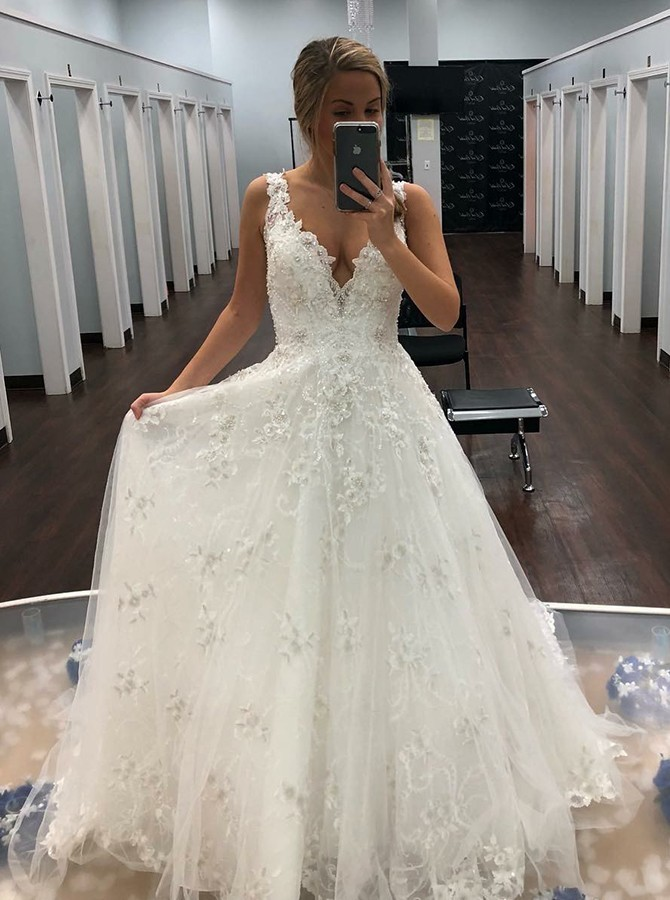 A-Line V-Neck Floor-Length Tulle Wedding Dress with Appliques