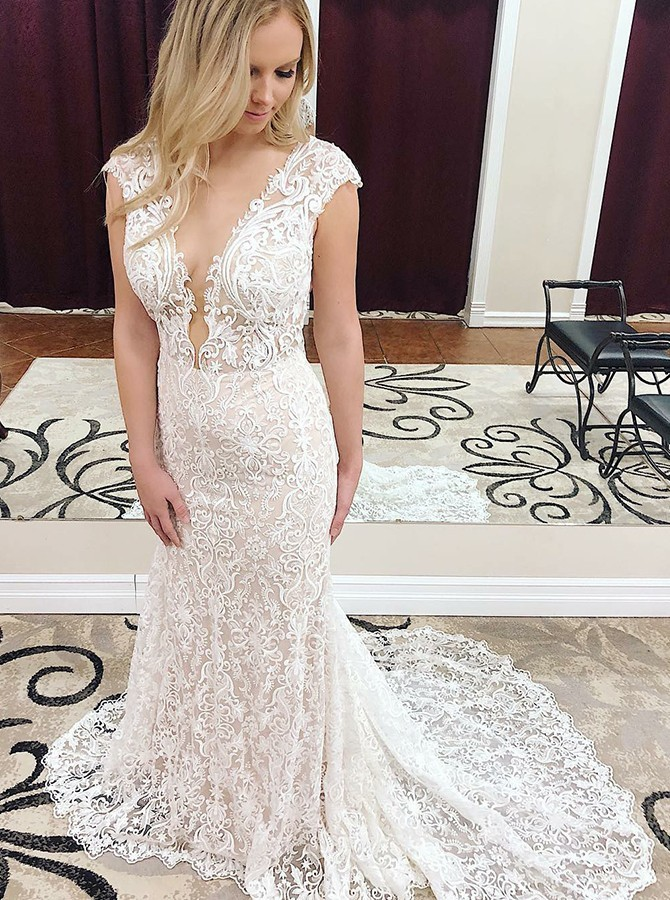 Beach Mermaid Deep V-Neck Sweep Train Lace White Wedding Dress