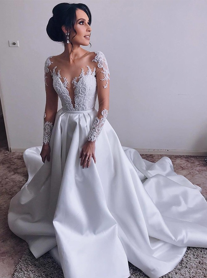 A-Line Illusion Sweep Train Wedding Dress with Long Sleeves Appliques