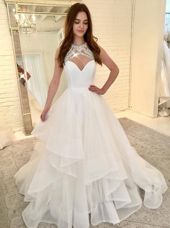 A-Line Round Neck Floor-Length White Tulle Wedding Dress with Tiered Beading
