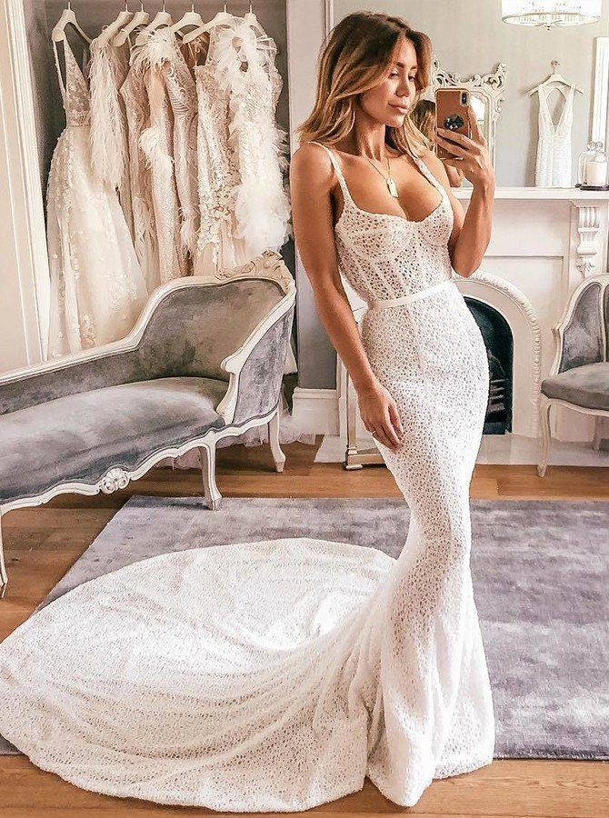 Mermaid Spaghetti Straps Sweep Train White Lace Wedding Dress Bridal Gown