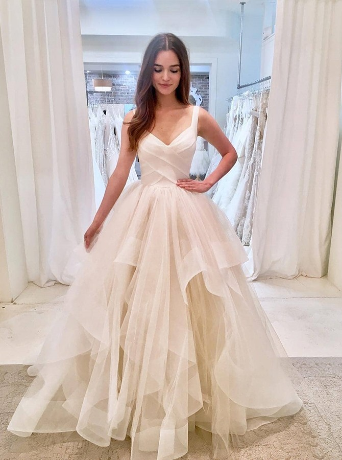 Beach A-Line Straps Sweep Train White Tulle Wedding Dress with Tiered