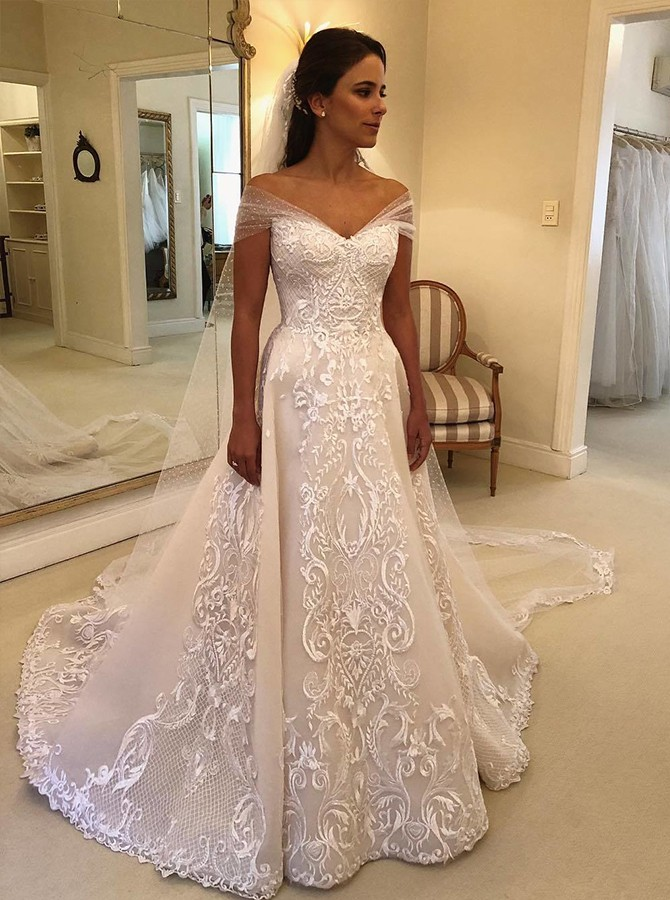 A-line Off-the-Shoulder Wedding Dress with Appliques Watteau Train