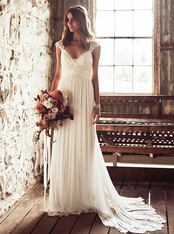 Boho A-Line V-Neck Sweep Train White Chiffon Wedding Dress with Lace