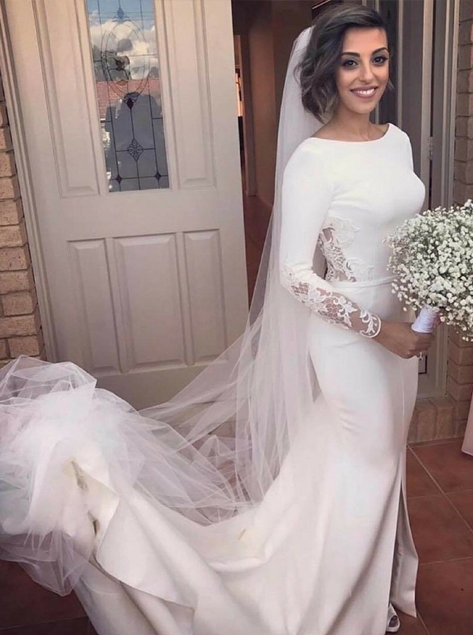 Mermaid Round Neck Court Train White Wedding Dress with Long Sleeves Appliques Split